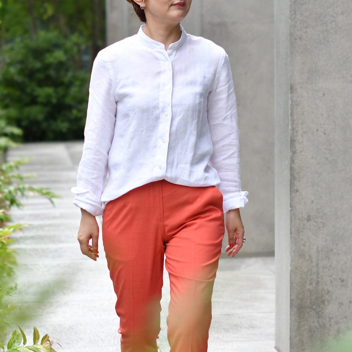 Finamore【フィナモレ】リネンバンドカラーシャツ