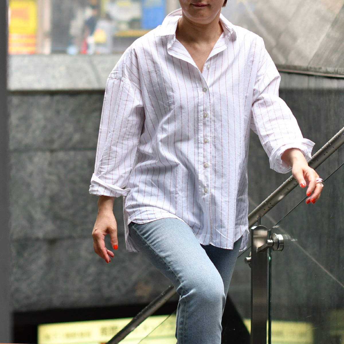 Finamore【フィナモレ】ストライプ ビッグシルエットシャツ